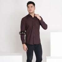 Baju Hem Kemeja Lengan Panjang Pria Coklat Dark Brown Polos Cowok 3242
