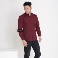 Kemeja Lengan Panjang Pria Merah Maroon Polos Cowok Casual Slimfit