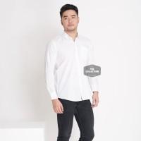 Kemeja Lengan Panjang Putih Polos White Pria Cowok Casual Slimfit 3296