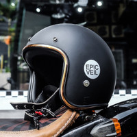 Epic Helm Slim Head Half Face Black Matte / Hitam Doff List Gold SNI
