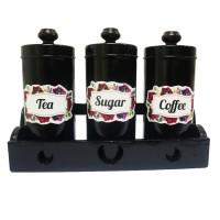 Tempat Gula Kopi Teh Canister Set Sugar Coffee Tea Set - Hitam
