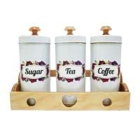 Tempat Gula Kopi Teh Canister Set Sugar Coffee Tea Set - Putih