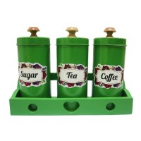 Tempat Gula Kopi Teh Canister Set Sugar Coffee Tea Set - Hijau