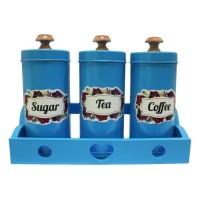 Tempat Gula Kopi Teh Canister Set Sugar Coffee Tea Set - Biru