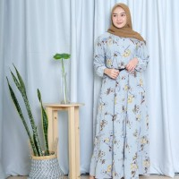 FASHION WANITA GAMIS THASIA DRESS FREE BELT - Navy