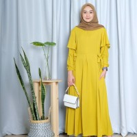 FASHION WANITA GAMIS RAUDA SIMPLY DRESS - Mustard