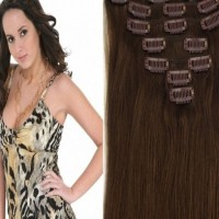 18inch 7pcs 70g Clip in Remy Human Hair Extensions Straight #04 Medium