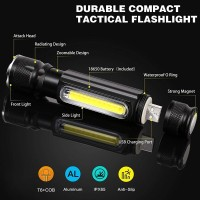 Senter LED USB Rechargeable Cree XML T6 COB Zoom Magnet TaffLED WY8106