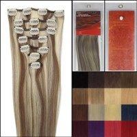 18 Clip in Remy Human Hair Extensions 70g 7pcs #8/613 Ash Brown/plati