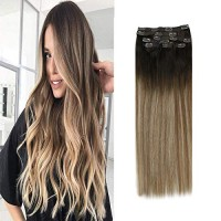VeSunny 20inch Full Head Clip in Hair Extensions Remy Balayage Human H