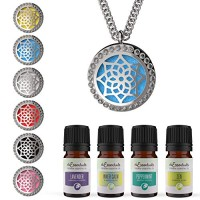 mEssentials CZ Flower Essential Oil Diffuser Necklace Gift Set - Inclu