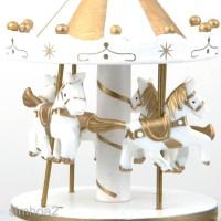 Kotak Musik Carousel Carousel Bahan Kayu Warna Putih untuk Hadiah