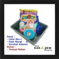 Super Paket Tempat Kotoran Kucing Litter Box L Skop dan Pasir Gumpal W