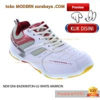 sepatu olahraga badminton NEW ERA BADMINTON 02 WHITE MAROON