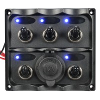 Marine 5 Gang LED Toggle Switch Panel Power Socket ML Stuff