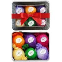 Bath Bomb Gift Set USA - 6 Vegan Essential Oil Natural Fun Fizzies Spa