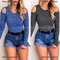 Blus Rajut Cold Shoulder Lengan Panjang Warna Polos untuk Wanita