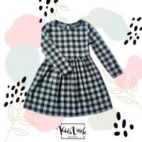 Baju dress anak perempuan (Flanel Kotak Hitam)