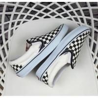 Sepatu Pria Vans Slip On Checkboard Black White Premium Original