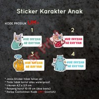 Label nama / Sticker karakter / sticker nama anak Waterproof