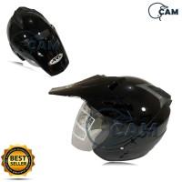 Helm SNI Semi cross 2 kaca hitam gloss bukan ink nhk jpx bxp
