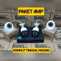 PAKET CCTV 4CH ABSOLUTE 4MP 1080P KOMPLIT TINGGAL PASANG