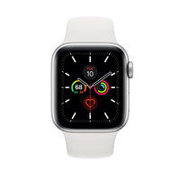 APPLE WATCH SERIES 5 SILVER ALMNIUM CASE 40MM SPORT BAND WHITE MWV62