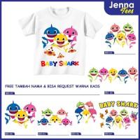 Baby Shark Pinkfong Kaos / Baju Anak Gratis cetak nama custom raglan