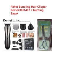 Paket 1 Gunting Sasak dan Hair Clipper Alat Cukur Rambut Kemei KM1407