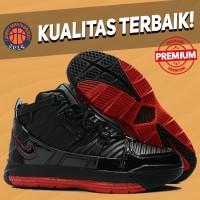Sepatu Basket Sneakers Nike Lebron 3 Bred Black Red Merah Hitam