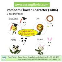 Pompom Flower Charater (1486), 5 set/pack, Aksesoris Bunga, Wisuda
