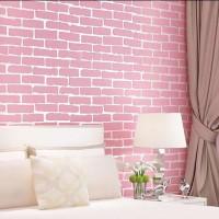 Wallpaper Dinding Motif Bata Pink List Putih 10m x 45cm