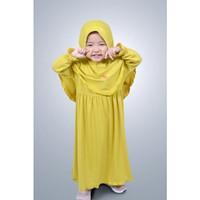 Baju gamis anak perempuan set kerudung - lemon, XS