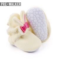 Sepatu Baby Pre Walker Bunny Bow Bludru LKS1107 - Merah Muda