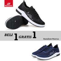 Beli 1 Gratis 1 Sepatu Sneakers Pria V385 Import - Hitam, 40