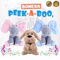 Boneka Gajah Anjing Elektronik Cilukba Peek-a-boo Telinga Bergerak