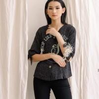 Baju Atasan wanita bahan linen murah bagus - tricia top (promo beli 3) - Hitam