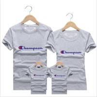 Champion Family Match Tee Couple Kids Boy Girl T-Shirt Tops Short