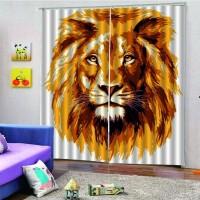 Tirai Model Kepala Singa Ukuran 150x16cm untuk Kamar Tidur Hotel