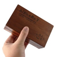 Wooden Rubber Stamp Box - Vintage Style -Diary Stamps 70 Pcs Number