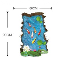 Stiker Dinding dengan Bahan Mudah Dilepas dan Gambar Ikan 3D untuk