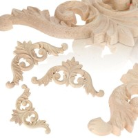 Wood Carving Applique Door Ornament Thick Frame Decal Unpainted