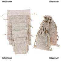 5Pcs Kantung Tas dengan Bahan Kain Goni Alami untuk Souvenir Pesta