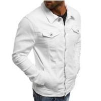 Jaket Jeans Casual Pria Lengan Panjang Model Trucker Warna Polos