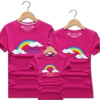 Family Match Tee Rainbow Couple Kids Boy Girl T-Shirt Tops Short