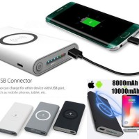 Termurah Power Bank Qi Wireless Charger 10000mAh Dual Input Type-