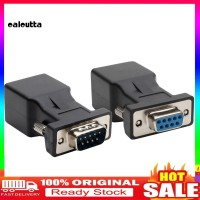 2Pcs Adapter Converter 9 Pin Serial DB9 RS232 Male Female to RJ45