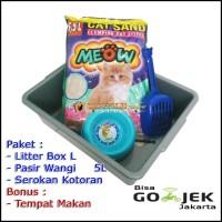 Super Paket Tempat Kotoran Kucing (Litter Box L, Skop Dan Pasir Gumpal