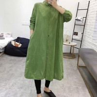 Dress Tunik Katun Bordir Brokat Lengan Panjang Kancing Depan Import