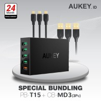 Aukey Charger PA-T15 500077 + Aukey Cable CB-MD3 500090
